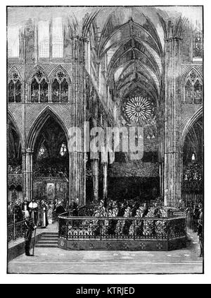 Queen Victoria's Jubilee, 1887, The Thanksgiving Service in Westminster Abbey - Stock Image
