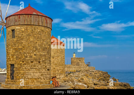 Line Of  Windmills, Rhodes Town, Greece - Stock Image