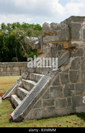 The Platform of the Eagles and Jaguars, Chichen Itza Archeological Site, Yucatan Peninsular, Mexico - Stock Image