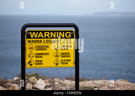 Warning sign on a cliff Wanna South Australia - Stock Image