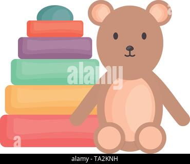 little bear teddy with pile blocks colors vector illustration design - Stock Image