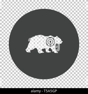 Bear silhouette with target  icon. Subtract stencil design on tranparency grid. Vector illustration. - Stock Image
