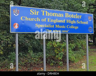 Sir Thomas Boteler school sign Latchford warrington England UK - Stock Image
