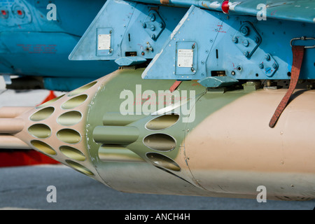 Unguided aviation rockets underwing pods - Stock Image