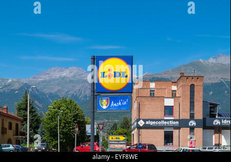 Lidl discount supermarket sign in the town of Susa, Piedmont, Italy - Stock Image