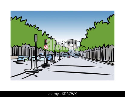 Illustration of Avenue des Champs-ƒlysŽes in Paris, France - Stock Image
