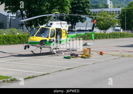 Aérospatiale/Eurocopter AS350 B3 'Écureuil' (Airbus Helicopters H125) landed on a parking lot, - Stock Image