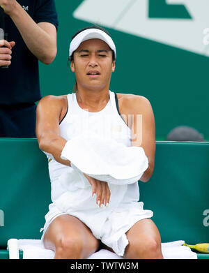 Eastbourne, UK. 23rd June 2019.  Heather Watson of Great Britain looks dejected after losing the first set against Alize Cornet of France in their first round match at the Nature Valley International tennis tournament held at Devonshire Park in Eastbourne . Credit : Simon Dack / TPI / Alamy Live News - Stock Image