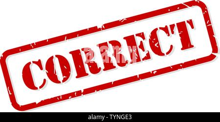 Correct red rubber stamp vector isolated - Stock Image