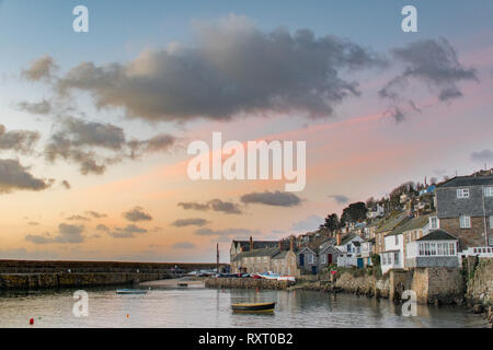 Mousehole, Cornwall, UK. 11th Mar, 2019. UK Weather. A colder start to the week in the far south west corner of Cornwall at sunrise thie morning. Credit: Simon Maycock/Alamy Live News - Stock Image