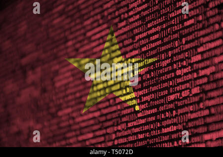 Vietnam flag  is depicted on the screen with the program code. The concept of modern technology and site development. - Stock Image