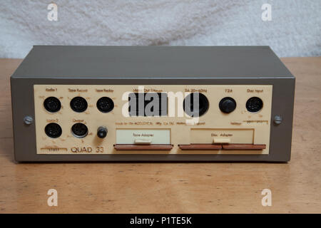 Rear panel of a Quad 33 pre-amplifiier - Stock Image