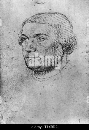 fine arts, Jean Clouet (1480 - 1541), drawing, Desiderius Erasmus of Rotterdam, portrait, 1520, Additional-Rights-Clearance-Info-Not-Available - Stock Image