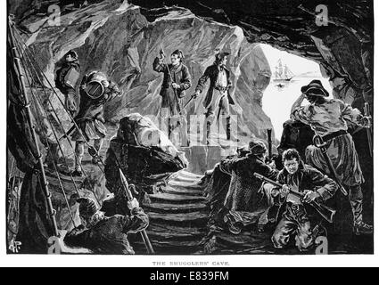 The smugglers cave circa 1885 - Stock Image