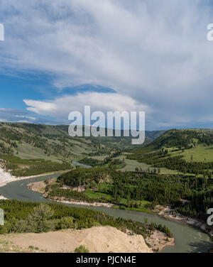 Yellowstone River Winds Through Rolling Hills in Early Summer - Stock Image