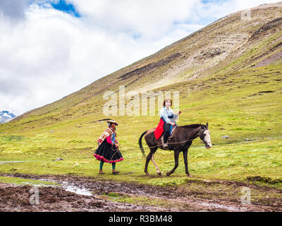Vinicunca, Peru - January 7, 2017. Tourist transportated to the Vinicunca peak (Rainbow mountain) over a horse - Stock Image