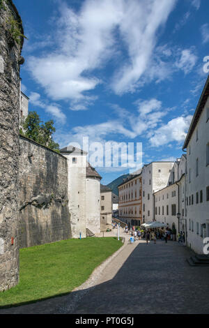A street within the walls of Hohensalzburg Castle above the city of Salzburg in Austria.  UNESCO World Heritage Site. - Stock Image