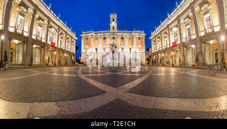 Piazza del Campidoglio on the top of Capitoline Hill with the facade of Senatorial Palace and equestrian statue of Marcus Aurelius at night, Rome, Ita - Stock Image