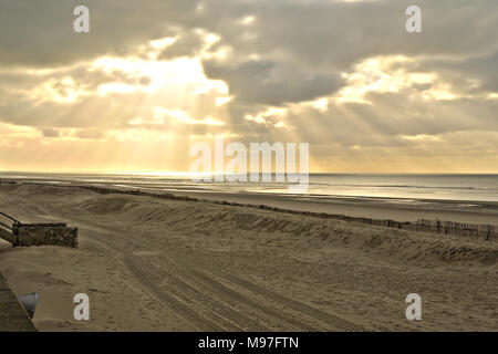 Le Touquet Sunbeams on the Beach - Stock Image
