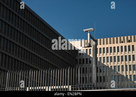 New headquarters of the BND  the Federal Intelligence Service of Germany in Berlin with fence and surveillance camera. - Stock Image