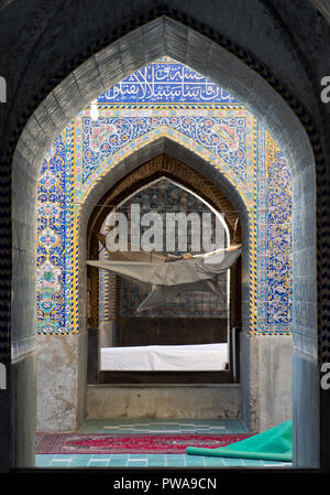 Seyyed mosque tile decorated arches, Isfahan, Iran - Stock Image
