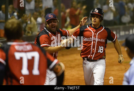 Havlickuv Brod, Czech Republic. 20th June, 2019. L-R Coach Tomas Kusy, left, handshakes with Marek Maly (both Czech) during the Men's Softball World Championship 2019 match Czech Republic vs Cuba in Havlickuv Brod, Czech Republic, on June 20, 2019. Credit: Lubos Pavlicek/CTK Photo/Alamy Live News - Stock Image