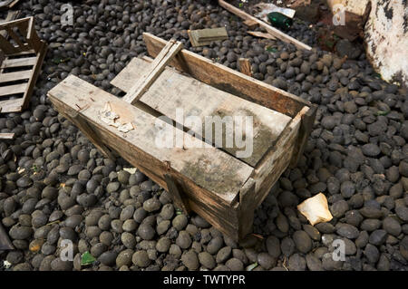 Broken wood crate over a pile of old coke nuts in neglected facilities at the Canfranc International railway station (Pyrenees, Huesca, Aragon, Spain) - Stock Image