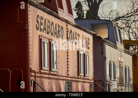 Units at the Caboose Motel in Lancaster County, Pennsylvania, USA. Each caboose is actually a motel room. - Stock Image