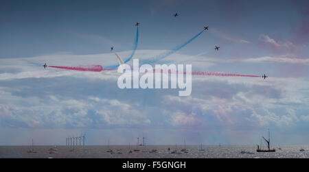 red arrows at clacton on sea airshow - Stock Image