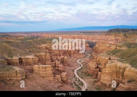 Aerial view of Charyn Canyon in Almaty Region, Kazakhstan - Stock Image