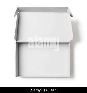 Open white cardboard box top view isolated on white with no shadows clipping path - Stock Image