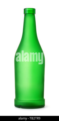 Front view of empty green matt bottle isolated on white - Stock Image
