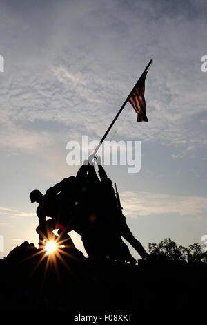 silhouette United States Marine Corps War Memorial Iwo Jima Memorial United States military monument Arlington National - Stock Image