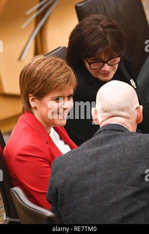 Politicians attend the Scottish First Minister's Questions at Holyrood.  Featuring: Jeane Freeman, Nicola Sturgeon, John Swinney Where: Edinburgh, United Kingdom When: 20 Dec 2018 Credit: Euan Cherry/WENN - Stock Image