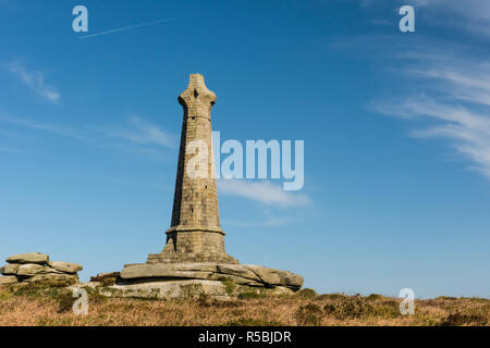 The Basset Monument is a Celtic cross acting as a memorial to Francis Basset, the 1st Baron de Dunstanville and Basset. It stands on the hilltop of Ca - Stock Image