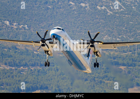 Prop passenger aircraft taking-off take-off, Croatia Airlines of Croatia national airliner - Stock Image
