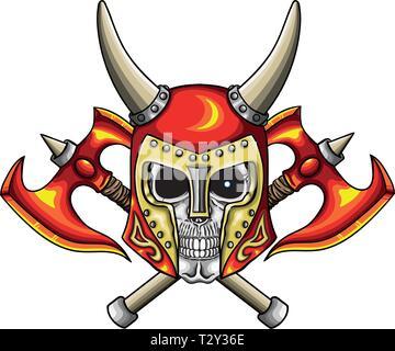 Vector illustration of warrior undead skull  with fantastic medieval red helmet. - Stock Image