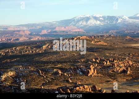 Aerial landscape of wide canyon in Arches National Park Utah United States - Stock Image