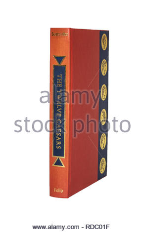 The Folio Society edition of 'The Twelve Caesars, by Suetonius. Isolated on white background, showing spine and front cover board. - Stock Image