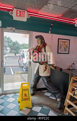 Life size Elvis figure at a local diner in North Florida. - Stock Image