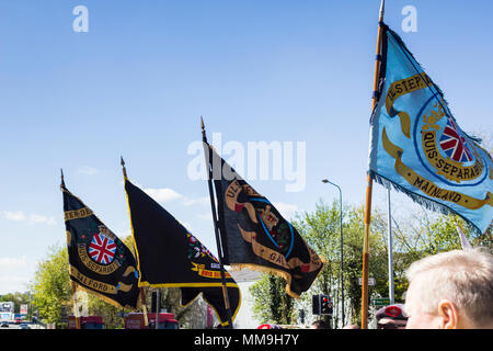 6th May 2018, Manchester UK. Branch club flags of the Apprentice Boys of Derry, carried by marchers in their annual parade through Manchester. - Stock Image