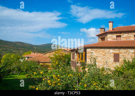 House and market garden. Pradena del Rincon, Madrid province, Spain. - Stock Image
