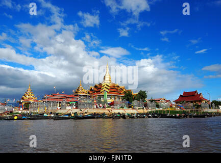 Hpaung Daw Oo or Phaung Daw Oo a notable Buddhist site located at Ywama on Inlay (Inle) Lake, in Shan State  Myanmar - Stock Image