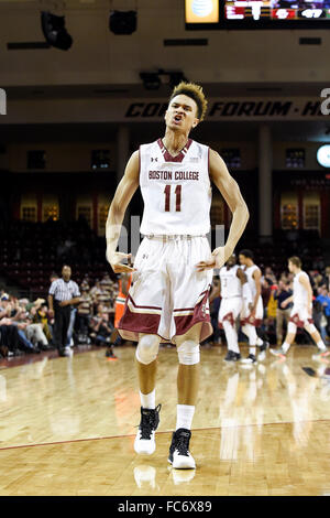 Chestnut Hill, Massachusetts, USA. 20th January, 2016. Boston College Eagles forward A.J. Turner (11) reacts to - Stock Image