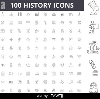 History line icons, signs, vector set, outline illustration concept  - Stock Image