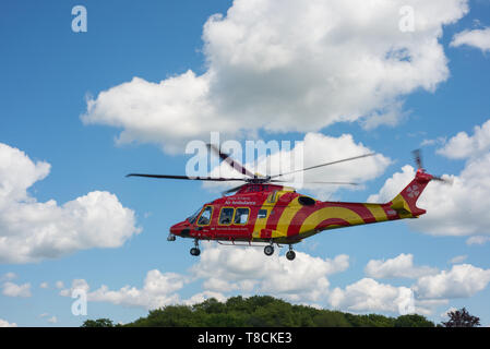 An Essex & Herts air ambulance helicopter landing in Hertford, UK. The helicopter landed in Perrett Gardens. - Stock Image