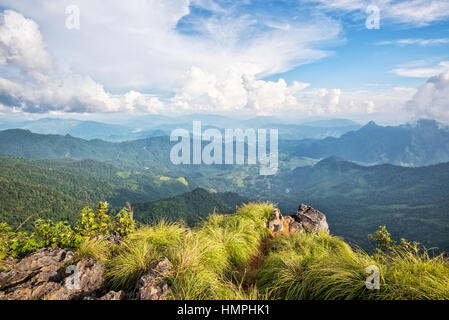 Beautiful landscape high mountain of the Phi Pan Nam Range from view point on Phu Chi Fa Forest Park in Chiang Rai - Stock Image
