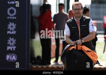 Silverstone, Northampton, UK. 11th July 2019. F1 Grand Prix of Great Britain, Driver arrivals day; Andreas Seidl, Team Principle at McLaren Credit: Action Plus Sports Images/Alamy Live News - Stock Image