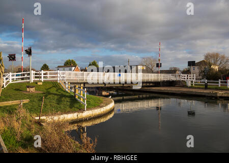Patch Bridge, a swing bridge, over the Gloucestershire and Sharpness Canal, near Slimbridge, Gloucestershire, UK - Stock Image