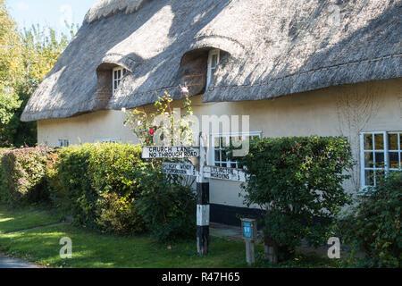 Thatched cottage in Abington Pigotts, Cambridgeshire, UK - Stock Image